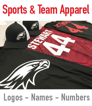 athletic name and number printing on shirts, hats and jerseys in mesa, gilbert, chandler AZ tempe